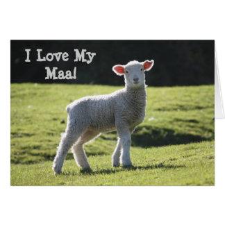 I Love Maa - Cute Baby Lamb Card