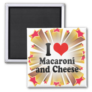 I Love Macaroni+and Cheese 2 Inch Square Magnet
