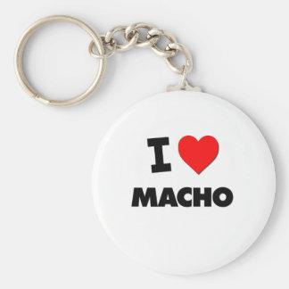 I Love Macho Basic Round Button Keychain