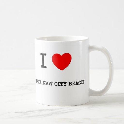 I Love Mackinaw City Beach Michigan Classic White Coffee Mug