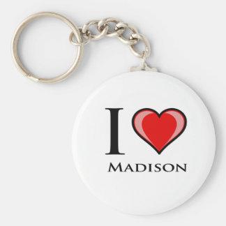 I Love Madison Basic Round Button Keychain
