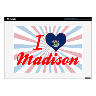 I Love Madison, Maine Decals For Laptops