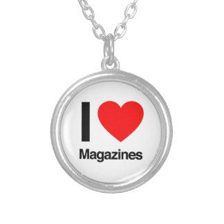 i love magazines round pendant necklace