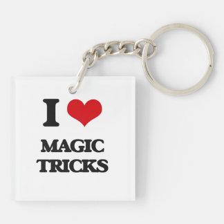 I love Magic Tricks Double-Sided Square Acrylic Keychain