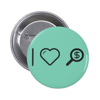 I Love Magnifying Glass 2 Inch Round Button