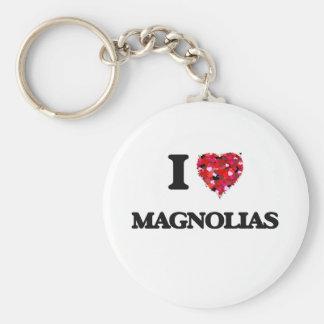I Love Magnolias Basic Round Button Keychain