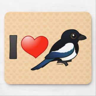 I Love Magpies Mouse Pad