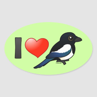 I Love Magpies Oval Sticker