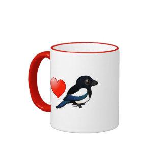 I Love Magpies Ringer Mug