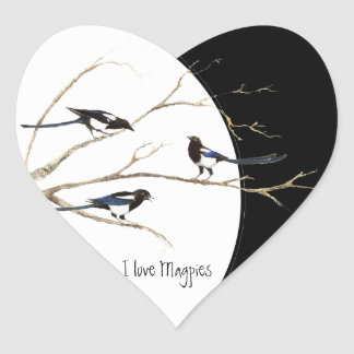 I love Magpies, Watercolor Magpie Family Heart Heart Sticker