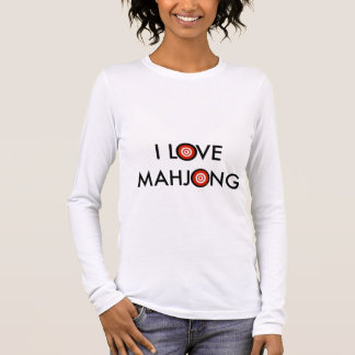 I Love Mahjong -Wheel Replaces O (Black Text) Long Sleeve T-Shirt