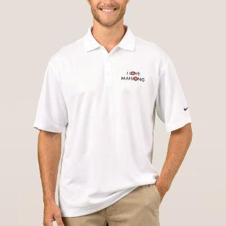I Love Mahjong -Wheel Replaces O (Black Text) Polo Shirt