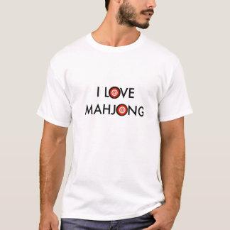 I Love Mahjong -Wheel Replaces O (Black Text) T-Shirt