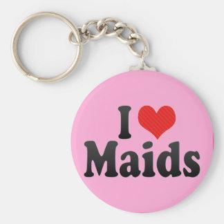I Love Maids Basic Round Button Keychain