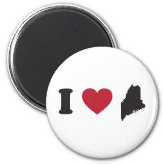 I Love Maine 2 Inch Round Magnet