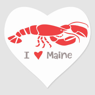 I love Maine Lobster Heart Sticker