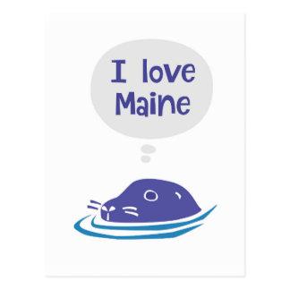 I love Maine Seal Postcard