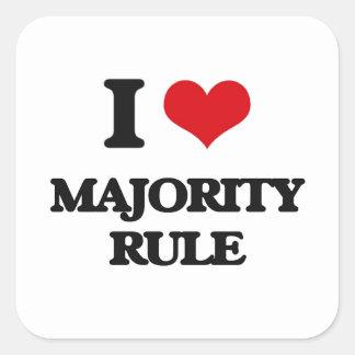 I Love Majority Rule Square Stickers