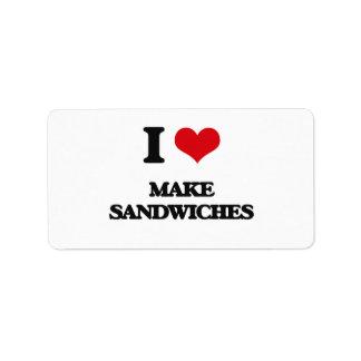 I love Make Sandwiches Address Label