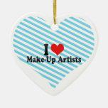 I Love Make-Up Artists Christmas Ornaments