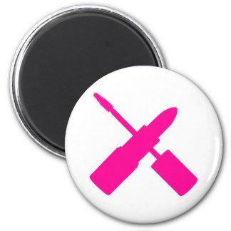 I Love Makeup Lipstick Mascara Cosmetics Hot Pink 2 Inch Round Magnet