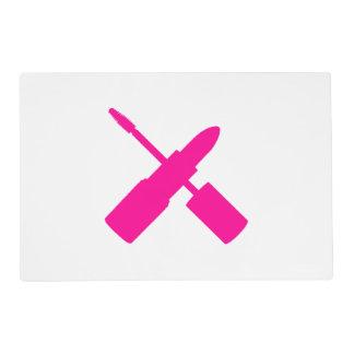 I Love Makeup Lipstick Mascara Cosmetics Hot Pink Placemat