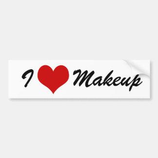 I Love Makeup Red Heart Girly Bumper Sticker