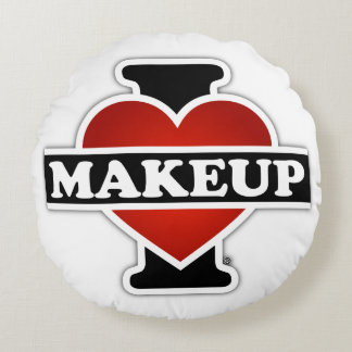 I Love Makeup Round Pillow