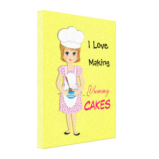 I Love Making Yummy Cakes Cute Picture Canvas Print