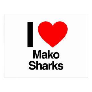 i love mako sharks postcard