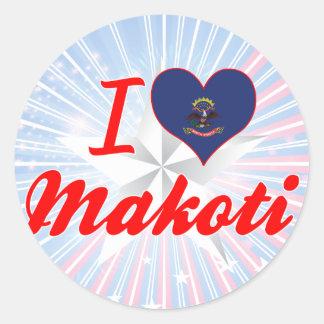 I Love Makoti, North Dakota Sticker