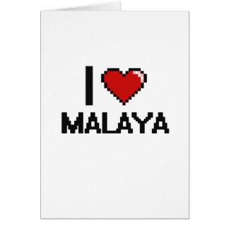 I Love Malaya Digital Retro Design Greeting Card