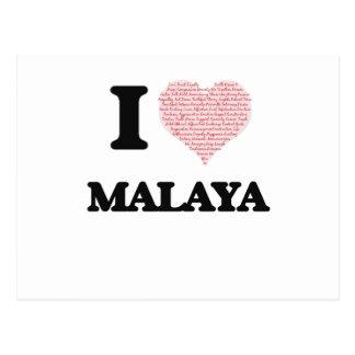 I love Malaya (heart made from words) design Postcard