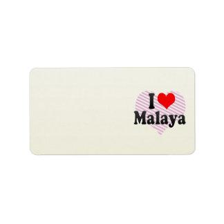 I love Malaya Address Label