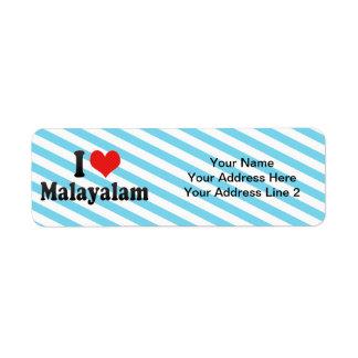 I Love Malayalam Return Address Labels