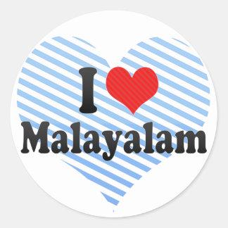 I Love Malayalam Round Stickers