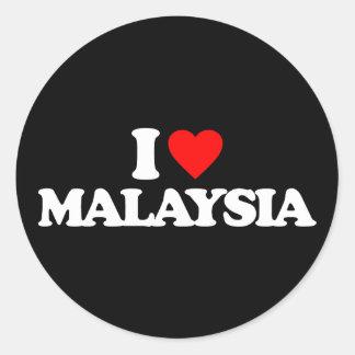 I LOVE MALAYSIA ROUND STICKERS