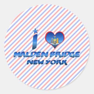I love Malden Bridge New York Round Stickers