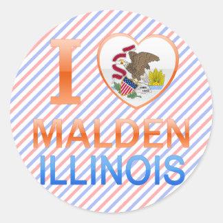 I Love Malden IL Round Stickers