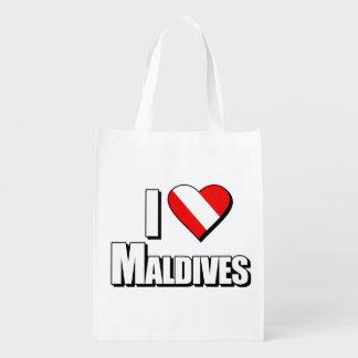 I Love Maldives Diving Grocery Bag