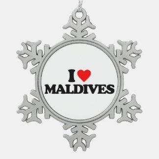 I LOVE MALDIVES SNOWFLAKE PEWTER CHRISTMAS ORNAMENT