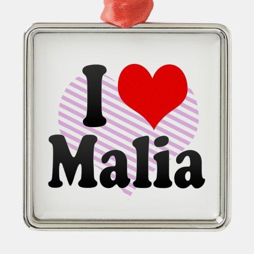 I love Malia Square Metal Christmas Ornament