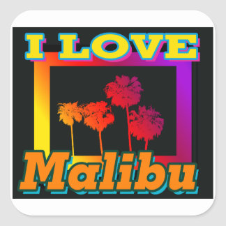 I LOVE Malibu Palm Trees in the Box Stickers