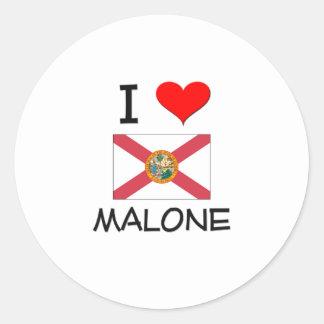 I Love MALONE Florida Round Stickers