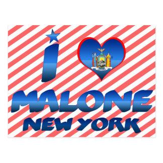 I love Malone, New York Postcard