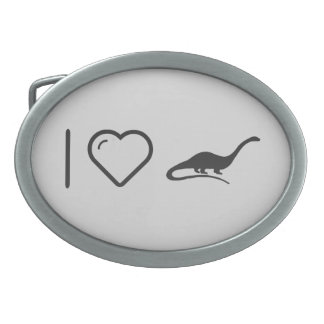 I Love Mamenchisaurus Oval Belt Buckles