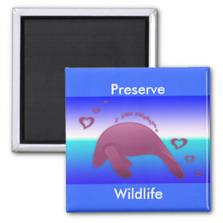 I Love Manatee 2 Inch Square Magnet