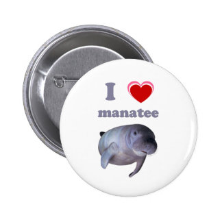 I Love Manatee Button