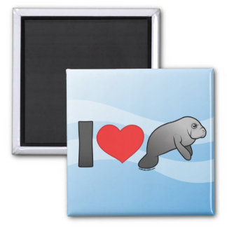 I Love Manatees 2 Inch Square Magnet