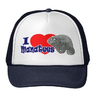 I Love Manatees Ball Cap Trucker Hat